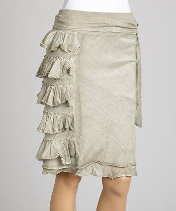 Saga Gray Ruffle Silk-Blend Midi Skirt
