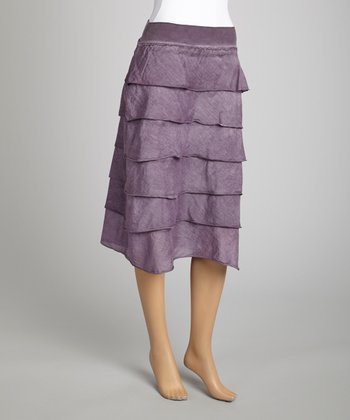 Saga Purple Ruffle Silk-Blend Midi Skirt