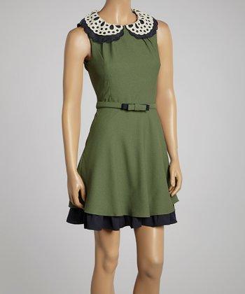 Ju's Olive Green Eyelet Belted A-Line Dress
