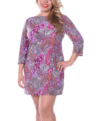 White Mark Purple & Pink Paisley Shift Dress - Plus