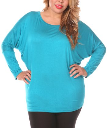 Teal Dolman Scoop Neck Tunic - Plus