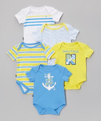 Nautica Yellow & White Bodysuit Set - Infant