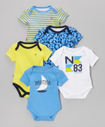 Nautica Blue & White Geometric Bodysuit Set - Infant