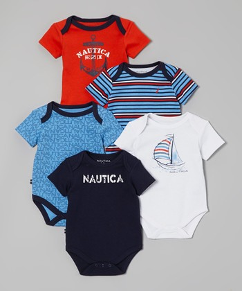 Nautica Red & White Sailboat Bodysuit Set - Infant