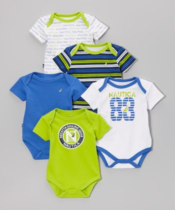 Nautica Lime & White Stripe Bodysuit Set - Infant