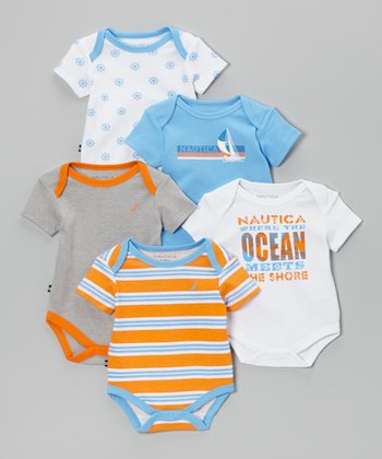 Nautica Orange & White Stripe Bodysuit Set - Infant