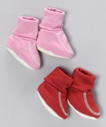 Cranberry & Pink Organic Booties Set
