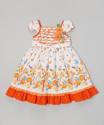 Orange & White Floral Lettuce Trim Square Neck Dress