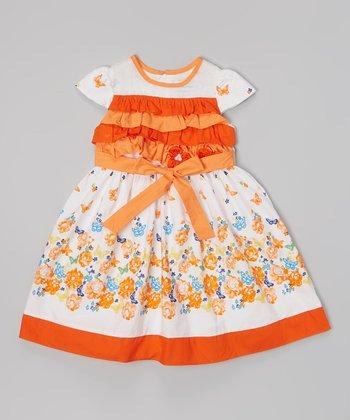 White & Orange Floral Tiered Bodice Dress