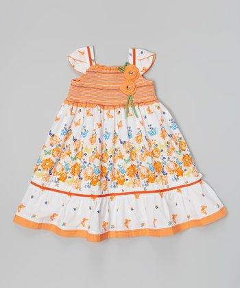 Orange & White Floral Square Neck Dress