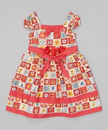 Red & Rainbow Flower Quilt Ruffle Sleeve Dress