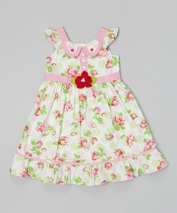 Pink & Green Floral Button Placket Dress