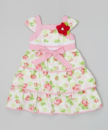 Pink & Green Floral Tiered Square Neck Dress