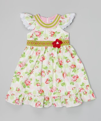 Pink & Green Floral Angel-Sleeve Dress