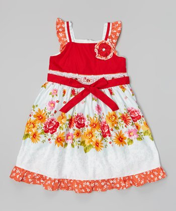 Red & White Floral Ruffle Hem Dress