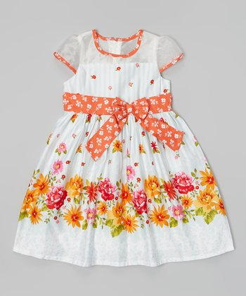 White & Orange Floral Sheer Cutout Dress