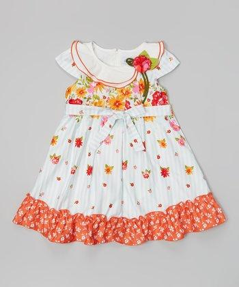 White & Orange Floral Broad Collar Dress