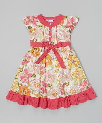 Hot Pink & Yellow Floral Cap-Sleeve Dress