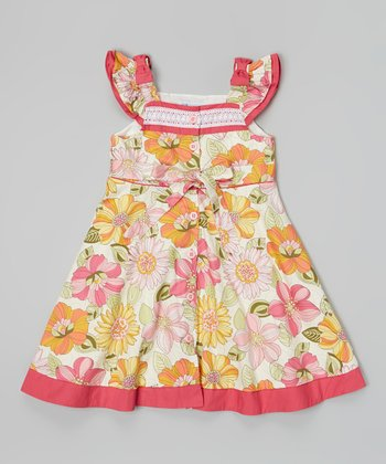 Hot Pink & Yellow Floral Square Neck Button-Up Dress