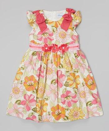 Hot Pink & Yellow Floral Sash Dress