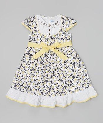 Yellow & White Daisy Bib Collar Dress