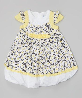 Yellow & White Daisy Cap-Sleeve Dress