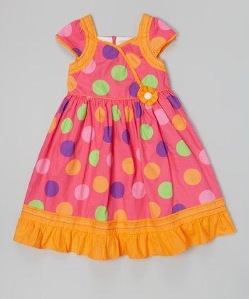 Hot Pink & Orange Polka Dot Cap-Sleeve Dress