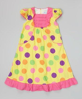 Yellow & Hot Pink Polka Dot Bib Dress