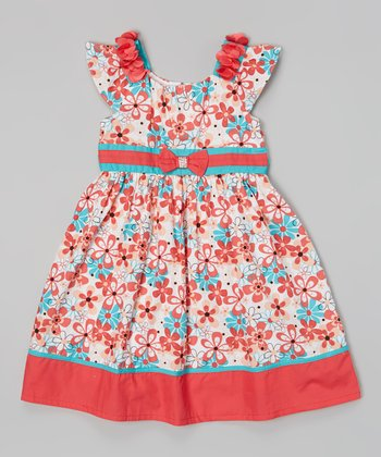 Red & Turquoise Daisy Bow Sash Dress