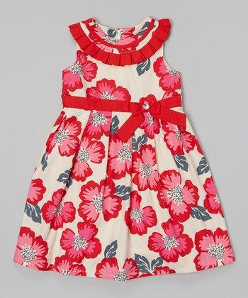 Red & Ivory Poppy Yoke Dress