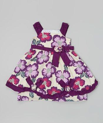Purple & Ivory Poppy Shirred Strap Dress