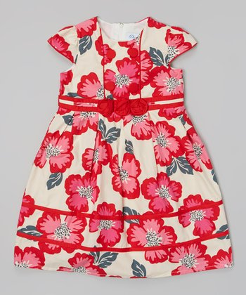 Red & Ivory Poppy Cap-Sleeve Dress