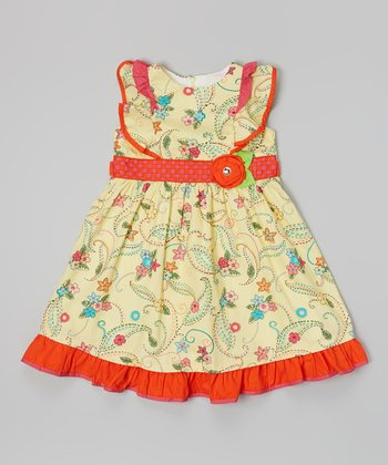 Yellow & Red Floral Broad Collar Dress