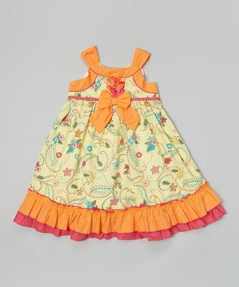 Orange & Yellow Floral Bow Yoke Dress