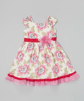 Ivory & Pink Floral Tulle Trim Dress