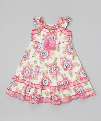 Ivory & Pink Flower Yoke Dress