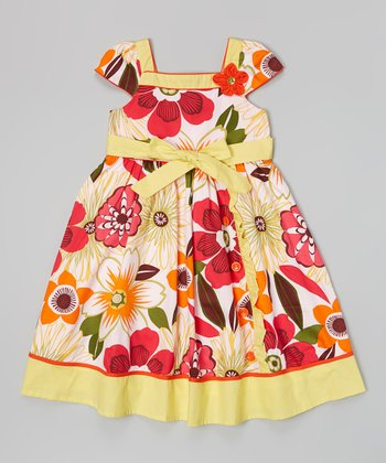 Red & Yellow Deco Flower Square Neck Dress
