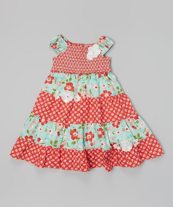 Red & Turquoise Floral Shirred Tier Dress