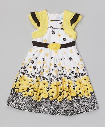 Yellow & Black Poppy Ribbon Tie Dress