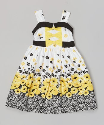 Yellow & Black Poppy Bow Tie Dress