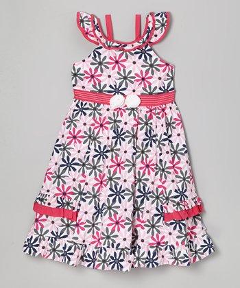 Fuchsia & Gray Daisy Yoke Dress