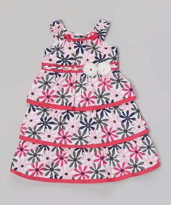 Fuchsia & Gray Daisy Tiered Dress