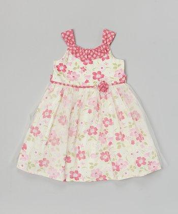 White & Pink Floral Sheer Overlay Yoke Dress