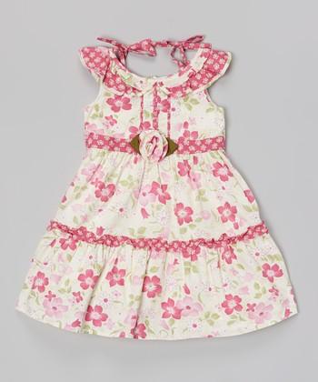White & Pink Floral Shoulder Tie Dress