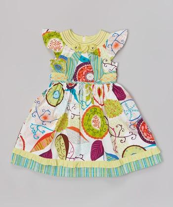 White & Rainbow Floral Abstract Yoke Dress