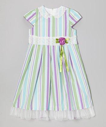 Aqua & Purple Stripe Flower Dress