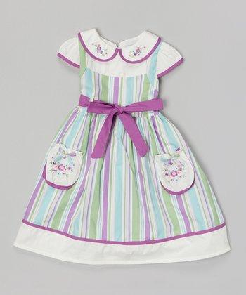 Purple & Aqua Stripe Floral Pocket Dress