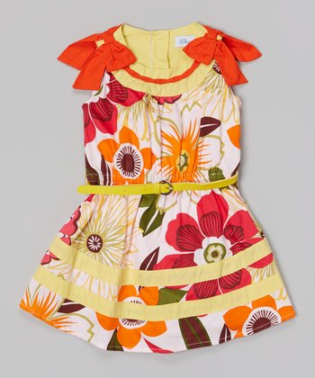 Yellow & Red Floral Shoulder Bow Belted Dress