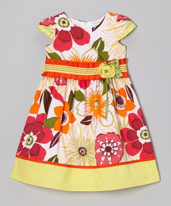 Yellow & Red Floral Cap-Sleeve Dress