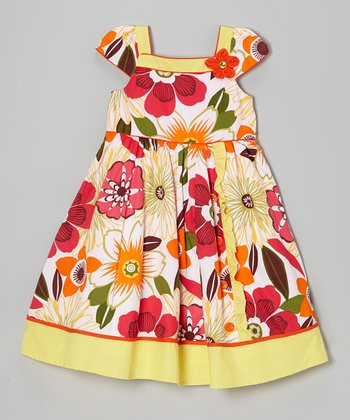 Yellow & Red Floral Square Neck Dress
